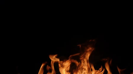 elementler : Slow motion of fire wall isolated on black background. Stok Video