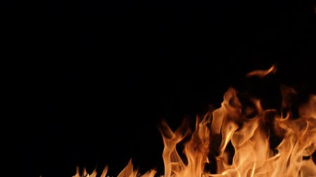 isolar : Slow motion of fire wall isolated on black background. Stock Footage
