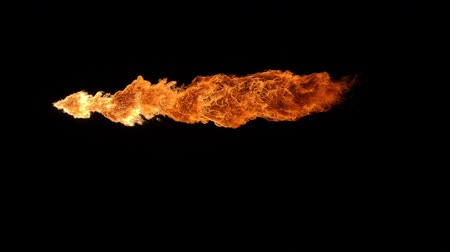 Slow motion of fire blasts isolated on black background.