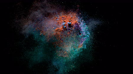 druhý : Super slow motion of coloured powder explosion isolated on black background. Filmed on high speed cinema camera, 1000fps. Dostupné videozáznamy