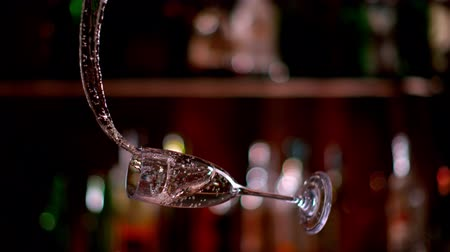 champagne flute : Super slow motion of rotating champagne wine goblet. Shot on high speed cinema camera with 1000fps 4K resolution.