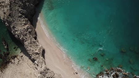 grecja : Aerial view of Myrtos sandy beach, Kefalonia, Greece. One of the most beautiful beach in the World. Summer relaxation and nature motive