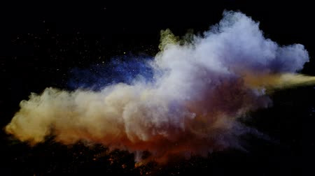 glow pyrotechnics : Super slow motion of coloured powder collision isolated on black background. Filmed on high speed cinema camera, 1000fps. Stock Footage