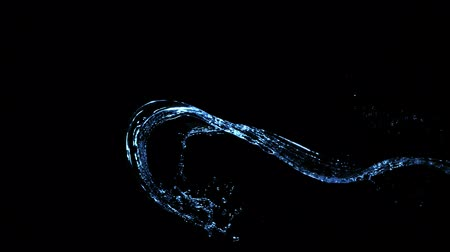 Super slow motion splashing water isolated on black background. Filmed on very high speed camera, 1000 fps. Stock Footage