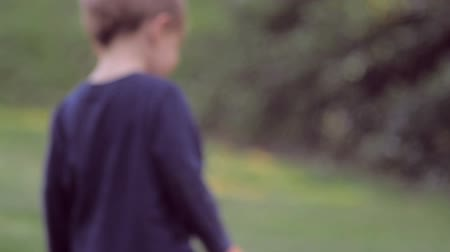 eye : Cute little blond boy in blue clothes walks and plays on green grass turns to look at the camera in slow motion with soft focus and soft natural lighting.