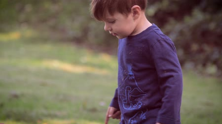 otcovství : Slow motion shot of a cute and beautiful 2 year old toddler caucasian boy in nature exploring his surroundings while looking around smiling and bending over to pick up something from the grass with his hands.