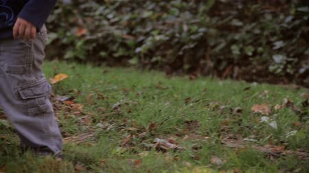 otcovství : Handheld shot of little toddlers feet and legs in baggy pants walking in grass in slow motion with his father watching over him. There are fallen leaves in the grass at the early stages of autumn or fall.