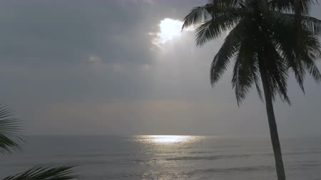 luksus : Rays of light shinning through a hole in the sky and reflecting on the ocean in the tropics such as an island or deserted beach Wideo