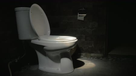 уборная : Dolly shot of a white toilet with the lid up in a dark room and a small spotlight.