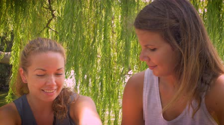 talk : Dolly shot of two young attractive girlfriends talking to one another in an intimate and personal serious conversation while sitting outside under a tree by a water pond on a bright summer day.