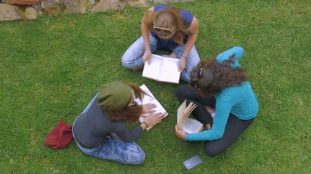 okula geri : Overhead of three teenage girls studying and reading books on the green grass in slowmo