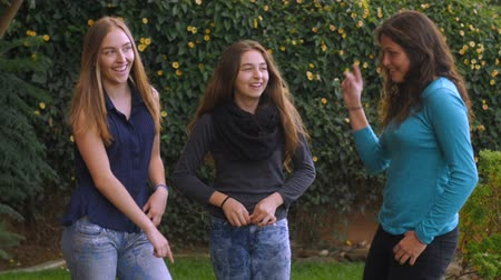 felicidade : Three lovely teenage girls dance and have fun together in slow motion Stock Footage