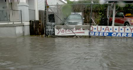 jornalismo : NEW ORLEANS, USA - JULY 22, 2017 - Fast moving water overwhelming the pumping system in Treme flooding parked cars and homes Stock Footage
