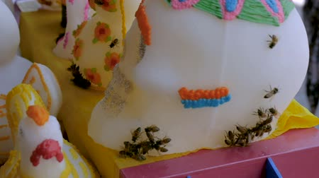 yabanarısı : Bees flying and crawling on Day of the Dead sugar skulls in Mexico Stok Video