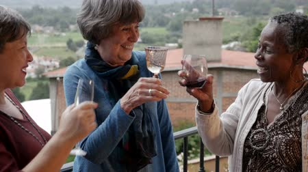 na zdraví : Three beautiful vibrant diverse mixed racial elderly senior women cheering with wine glasses outside on a balcony at their vacation home in slow motion Dostupné videozáznamy