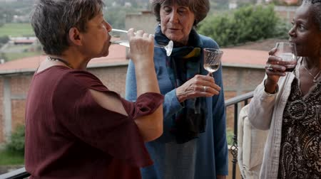 upřímný : Group of three diverse attractive mature women in their 60s talking and drinking wine outside on a balcony in slow motion Dostupné videozáznamy