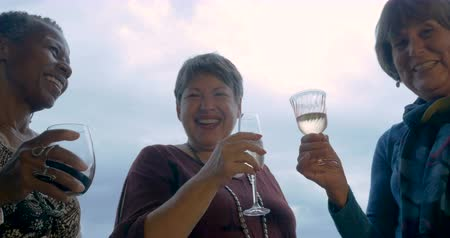 vivo : Low angle of three healthy mature women in their 60s toasting with drinks outside Stock Footage