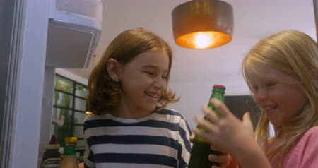 frigorífico : Two young girls open a refrigerator door and take a green bottle out pov from the fridge