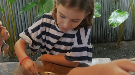 çikolata : Close up of a young 11 - 12 year old girl getting a spoonful of ice cream and cake dessert in slow motion Stok Video