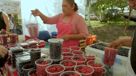sobota : PUERTO VALLARTA, MEXICO - CIRCA MARCH 2018 - Mexican vendor taking money for fresh fruit blueberries, raspberries, and blackberries at a Saturday market in slow motion