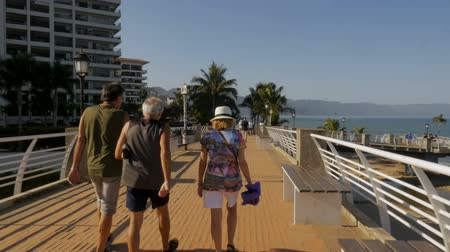 Észak amerika : PUERTO VALLARTA, MEXICO - CIRCA MARCH 2018 - Camera following tourists walking on the Rio Cuale bridge on the Malecon in slow motion Stock mozgókép