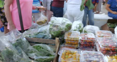 овощи : Shopper buying and selecting fresh organic greens, lettuce, cherry tomatoes, and arugula in plastic bags and containers at a farmers market