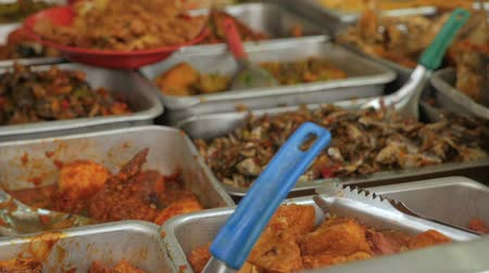 kari : Malaysian food in metal serving trays buffet style