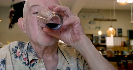 listener : Handsome elderly man in his 70s or early 80s drinking red wine in a cafe while listening and nodding his head yes Stock Footage