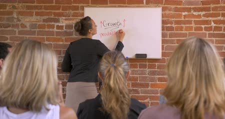 zajímavý : Multi-ethnic attractive businesswoman giving a presentation writing productivity on a white board in front of a cheering happy attentive audience of her business peers - dolly shot