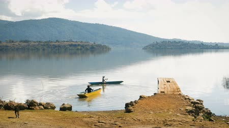 PATZCUARO, MEXICO - CIRCA MAY 2017 - Two fisherman paddle in dugout canoes on a mountain lake while a stray dog walks towards the water Stok Video