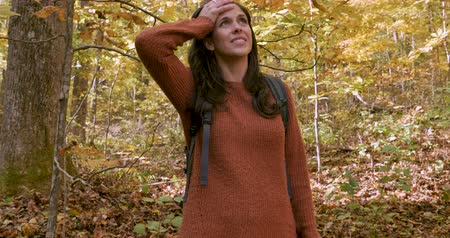 assustado : Beautiful young woman alone in the woods shouting for help while hiking by herself Vídeos