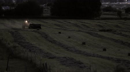 sorok : A farmer works lat at night to cut and bail his hay for the season Stock mozgókép