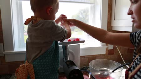 sıkıcı iş : a little boy helps his mother to make tomato sauce in their kitchen at home