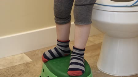 уборная : A young toddler is being potty trained