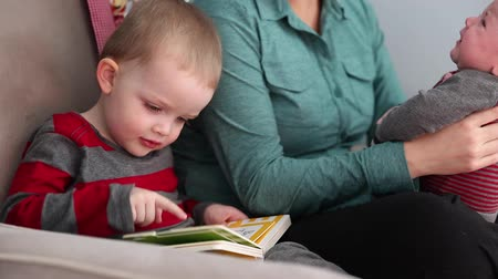 kalmak : a mom reading stories with toddler and baby Stok Video