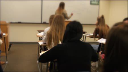 teste : A university professor teaching a course to students in the classroom Stock Footage