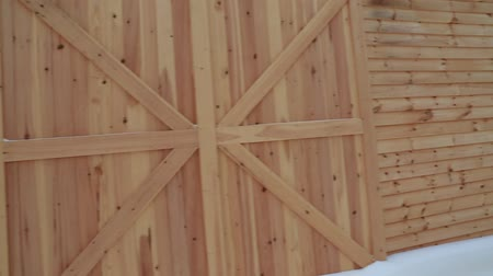 ahır : a beautiful steadicam shot of a a newly built wood barn Stok Video