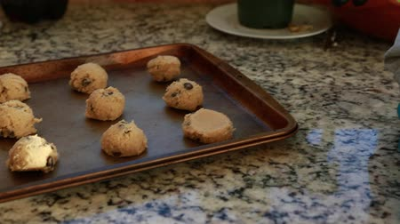 çikolata : a little boy toddler makes chocolate chip cookies with his pregnant mother in their kitchen