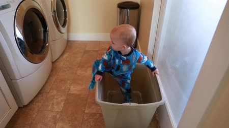 otcovství : a toddler plays in the laundry room and watches the washer and dryer Dostupné videozáznamy