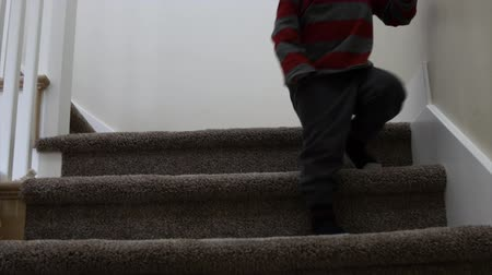 zábradlí : A toddler boy walking down the stairs in his house