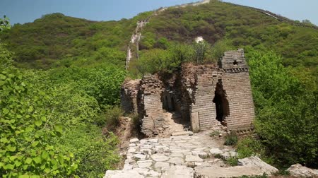great wall of china : ancient section of the great wall of china beijing jiankou
