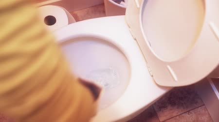 домохозяйка : a woman scrubs a toilet as she cleans the bathroom Стоковые видеозаписи