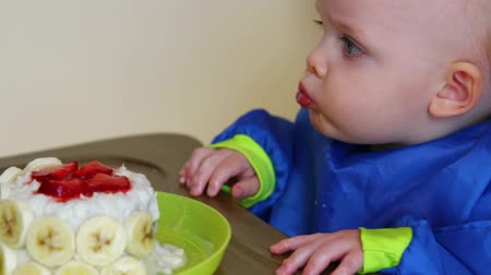 baby boy having first birthday Стоковые видеозаписи