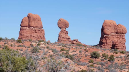 rocks red : Balancing rock at Arches National Park at Southern Utah panning