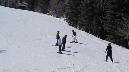 narciarz : Beggining Skiers Practicing Wideo