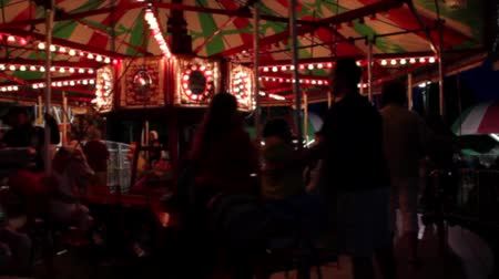 Carnival Carousal at night Stock Footage
