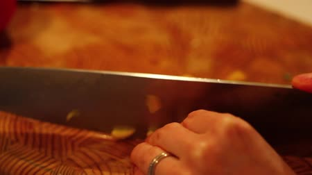 chop up : slicing vegetables of a dinner salad Stock Footage