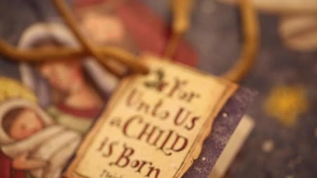 İncil : christmas card says for unto us a child is born