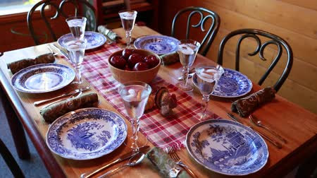 obiad : dining table for thanksgiving dinner Wideo