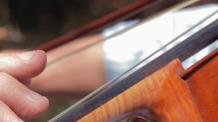 enstrüman : closeup of a man playing violin Stok Video